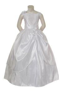 Girl Pageant ball evening 1st Communion White formal dress