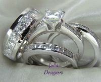 His Hers Engagement Wedding Band Ring Set Sterling Silver ...