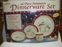 16 PIECE STONEWARE DINNERWARE SET SNOWMAN DESIGN ROYAL ...