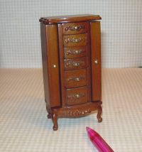 Miniature Fantastic Walnut Jewelry Cabinet: DOLLHOUSE ...