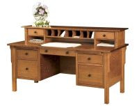 Amish Computer File Desk Mission Solid Wood Home Office ...