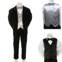 New Baby Boy Formal Wedding Party Black Suit Tuxedo ...