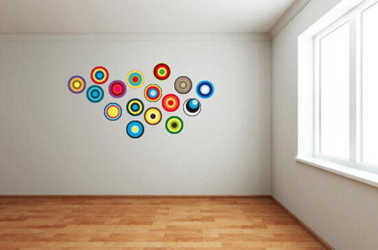 Ebay 3d Wallpaper Photo Retro Circles Discs Multi Coloured Circle Fun