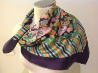 VINTAGE Liberty Of London Floral & Stripe Print Scarf ...