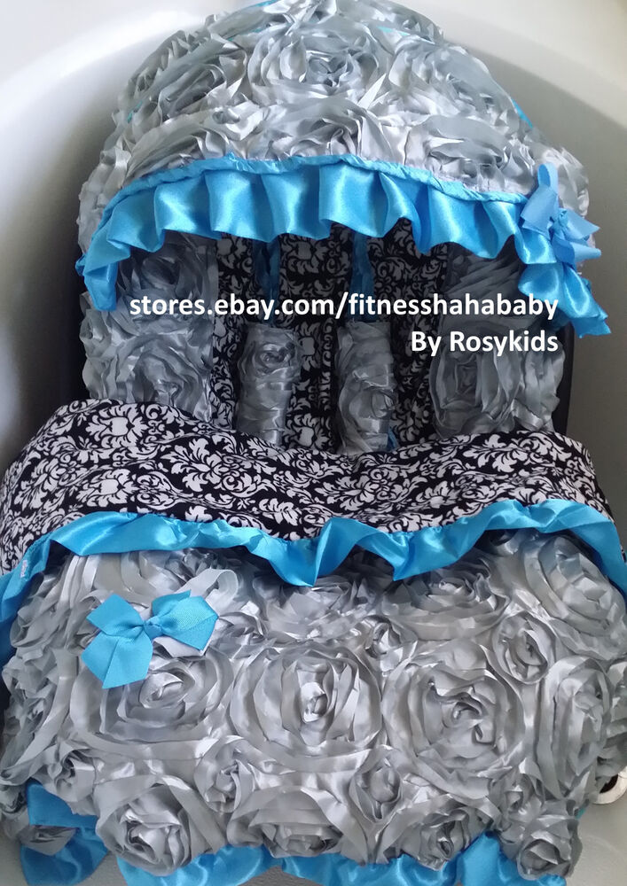Newborn Seat Car Gray Blue Infant Car Seat Canopy Cover Blanket Fit Most