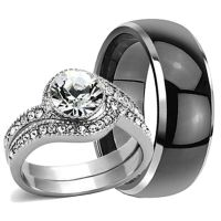 His Hers Mens TUNGSTEN Black Band & Stainless Steel ...