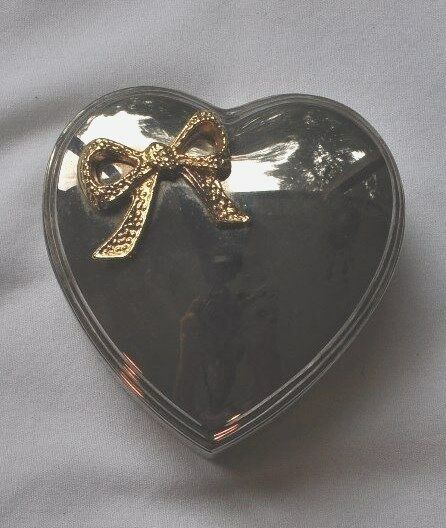 Silver Plated Heart Trinket Box Jewelry Ring Box Holder Ebay