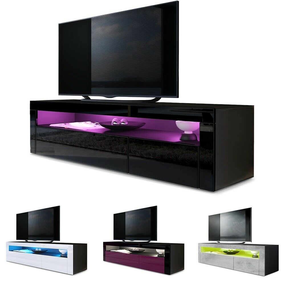 Vladon Meuble Tv Tv Unit Stand Sideboard Led Valencia In Black - High Gloss