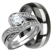 His & Hers 3 pcs Womens STERLING SILVER & Mens TUNGSTEN ...