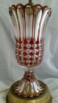 Vintage Ruby Red Stained Glass Accent Lamp Vase Shabby ...