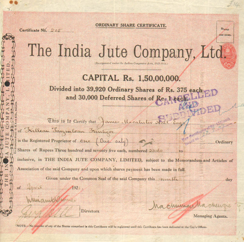 The India Jute Company, Ltd \u003e 1921 India British colony stock - Company Share Certificates