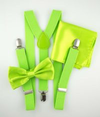 Lime Green Mens Bow Tie Suspender Hanky Set Novelty ...