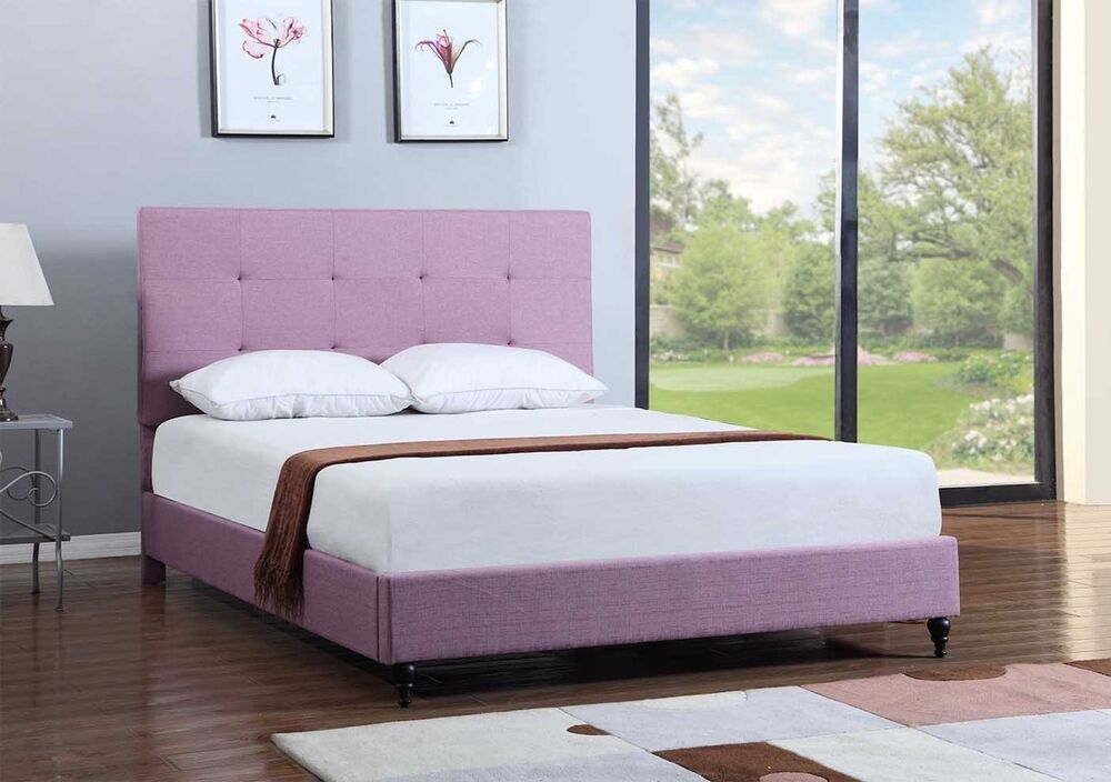Purple Upholstered Platform Bed Frame Slats Modern Home