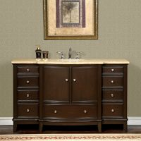 60-inch Travertine Stone Counter Top Bathroom Single Sink ...