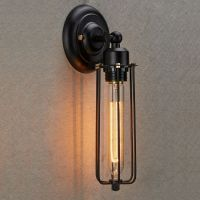 Industrial Edison Vintage Style Mini Black Long Wire Cage ...