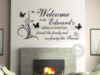 Personalised Family Name Wall Sticker Quote Welcome Home ...