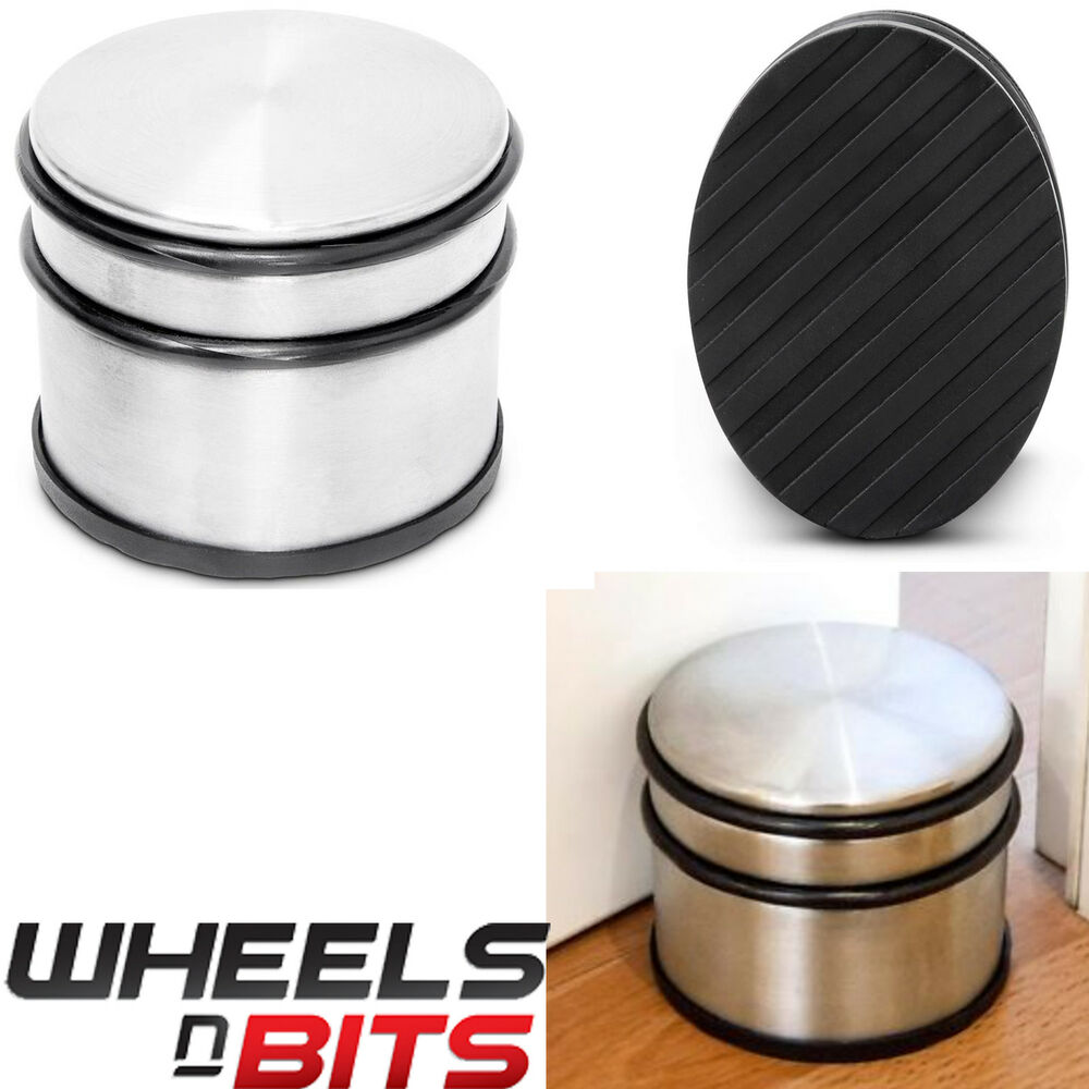 Heavy Weight Door Stop Portable Round Heavy Weight Duty Metal Door Stop Rubber Floor Protector Stopper Ebay