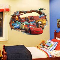 Out Wall Decal 3D Cars McQueen Mater Sticker Decals Kids ...