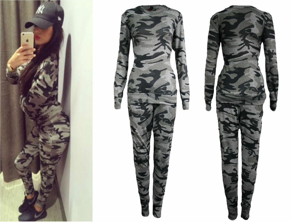 Nike Camo Hoodie Ebay Womens Ladies Plus Size Army Camouflage Print Jogging Suit