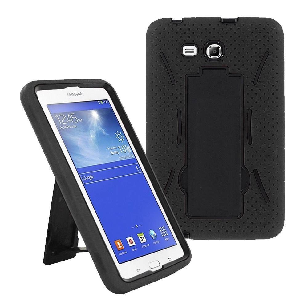 Black Hybrid Hard Case Skin Cover For Samsung Galaxy Tab 3 E Lite 7 T110 Ebay - Samsung Galaxy Tab E