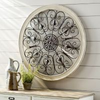 White Round Wrought Iron Wall DECOR Rustic Scroll Antique ...