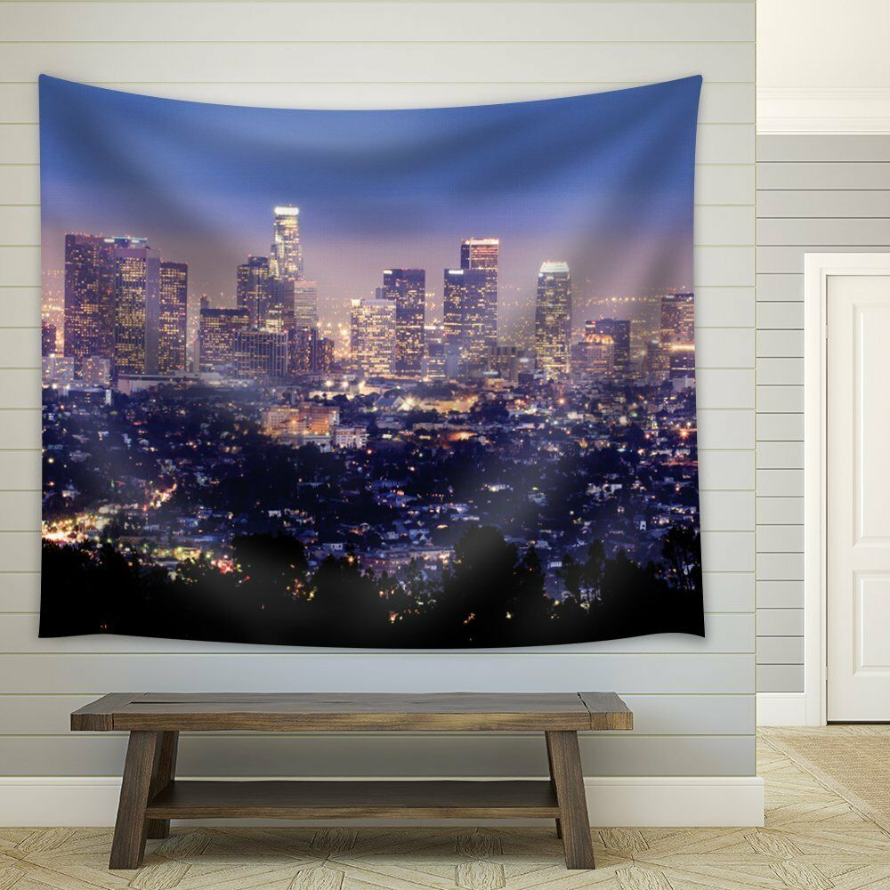Lit Fabric The City Of Los Angeles All Lit Up At Night Fabric Tapestry 51x60 Inches Ebay