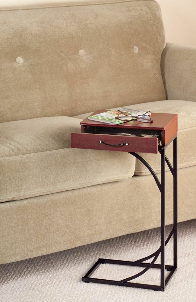 Slide Under Sofa Table Side Sofa End Table Wood Desk Tv Computer Coffee Tray