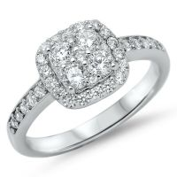 4 Stone Halo Square Wedding Engagement Ring Sterling ...