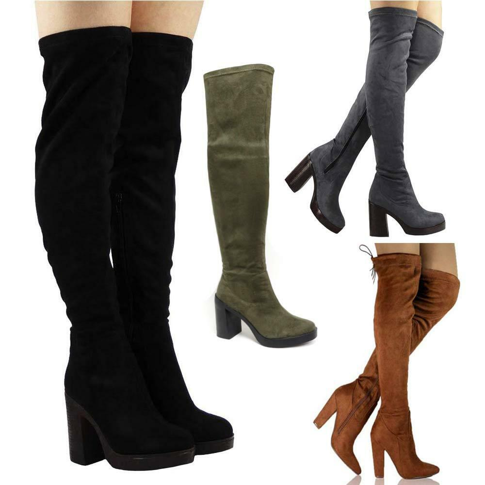 New Womens Ladies Black Thigh Over The Knee High Heel