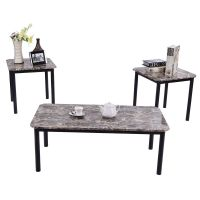 3 Piece Modern Faux Marble Coffee and End Table Set Living ...