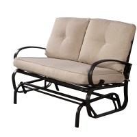 Glider Outdoor Patio Rocking Bench Loveseat Cushioned Seat ...