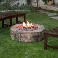 Outdoor Fire Pit Natural Gas Backyard Patio Deck Stone ...