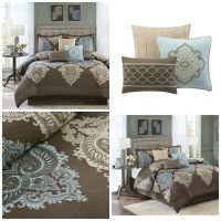7-Piece Brown Blue Damask Print Luxurious King Size Bed ...