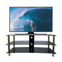 Curved TV Stand 32-70 inch LED LCD 3 Black Glass Shelf ...