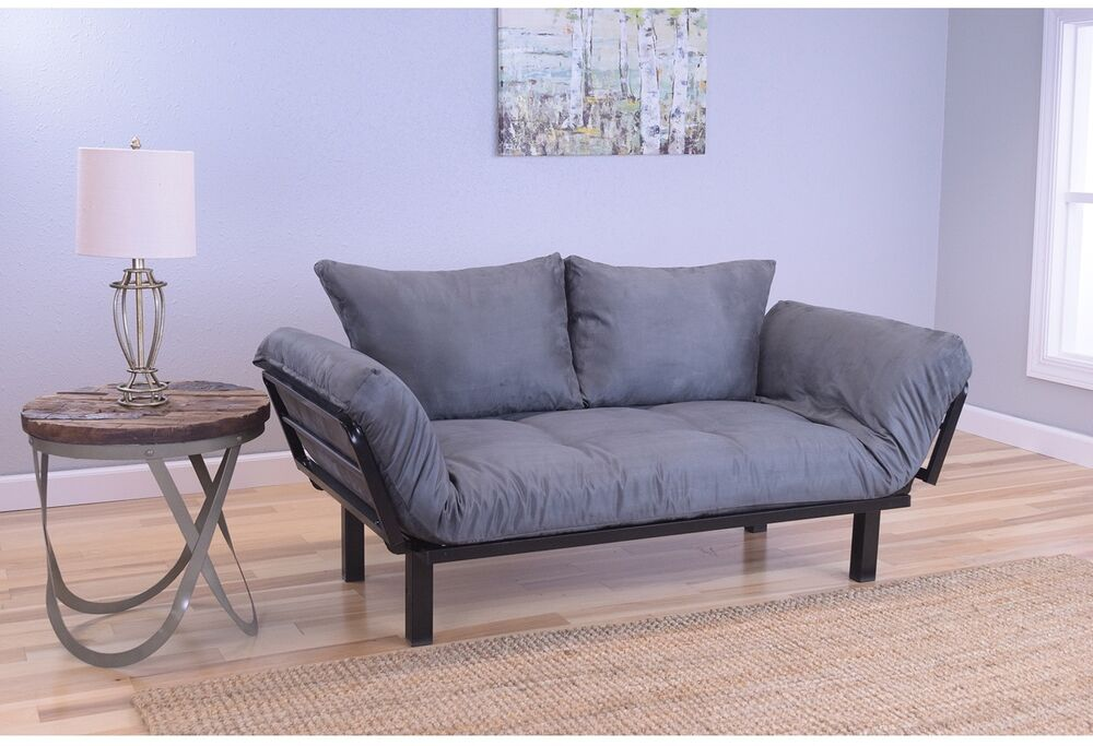 Eli Grey Suede Daybed Lounger Sofa Futon Set Twin Xl Bed