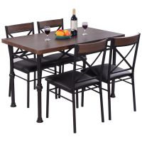 5 Piece Dining Set Table And 4 Chairs Wood Metal Kitchen ...