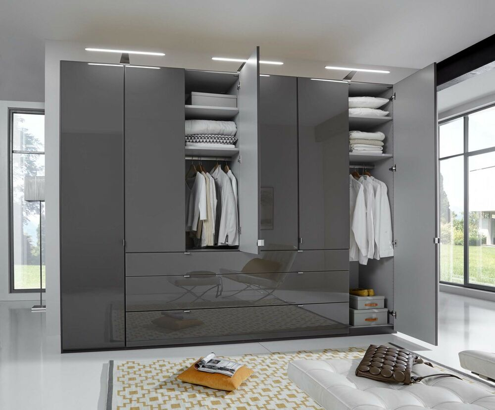 Chambre à Coucher Wiemann German Mobel 2m 4 Door Wardrobe Fitted Bedroom Graphite Black Grey White Glass Ebay