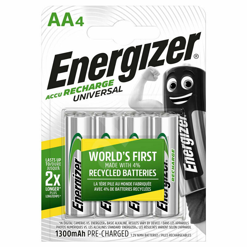 Accu Rechargeable 4 X Energizer Rechargeable Aa Batteries Universal 1300 Mah Accu Nimh Pack Of 4 7638900268317 Ebay