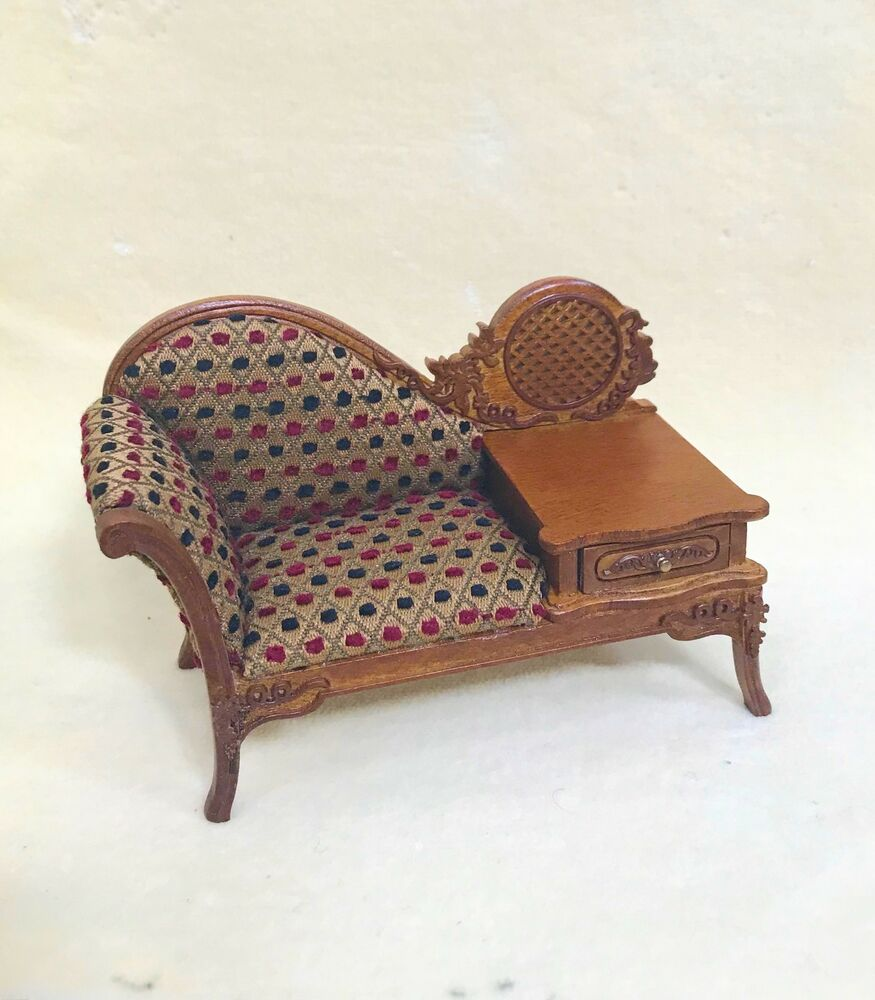 Chaise Longue Telephone Table Dollhouse Miniature Sofa With Telephone Table Only Ebay