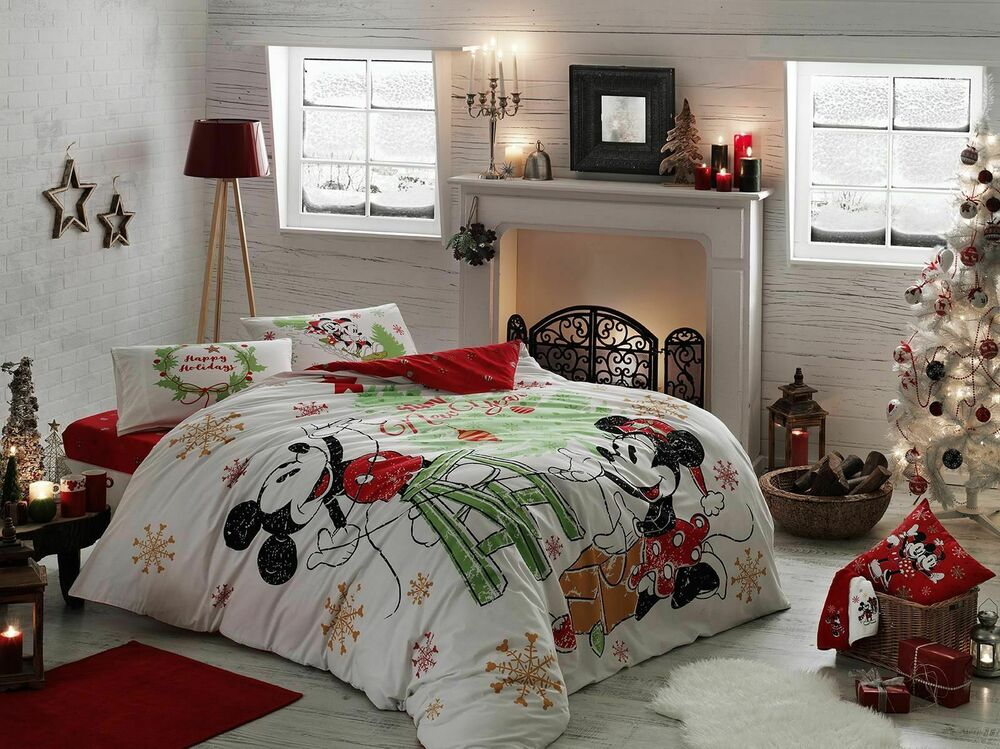 Quilt Oberhausen Mickey Minnie Mouse Disney Cotton Duvet Quilt Cover Set Bedding Holiday Queen Ebay