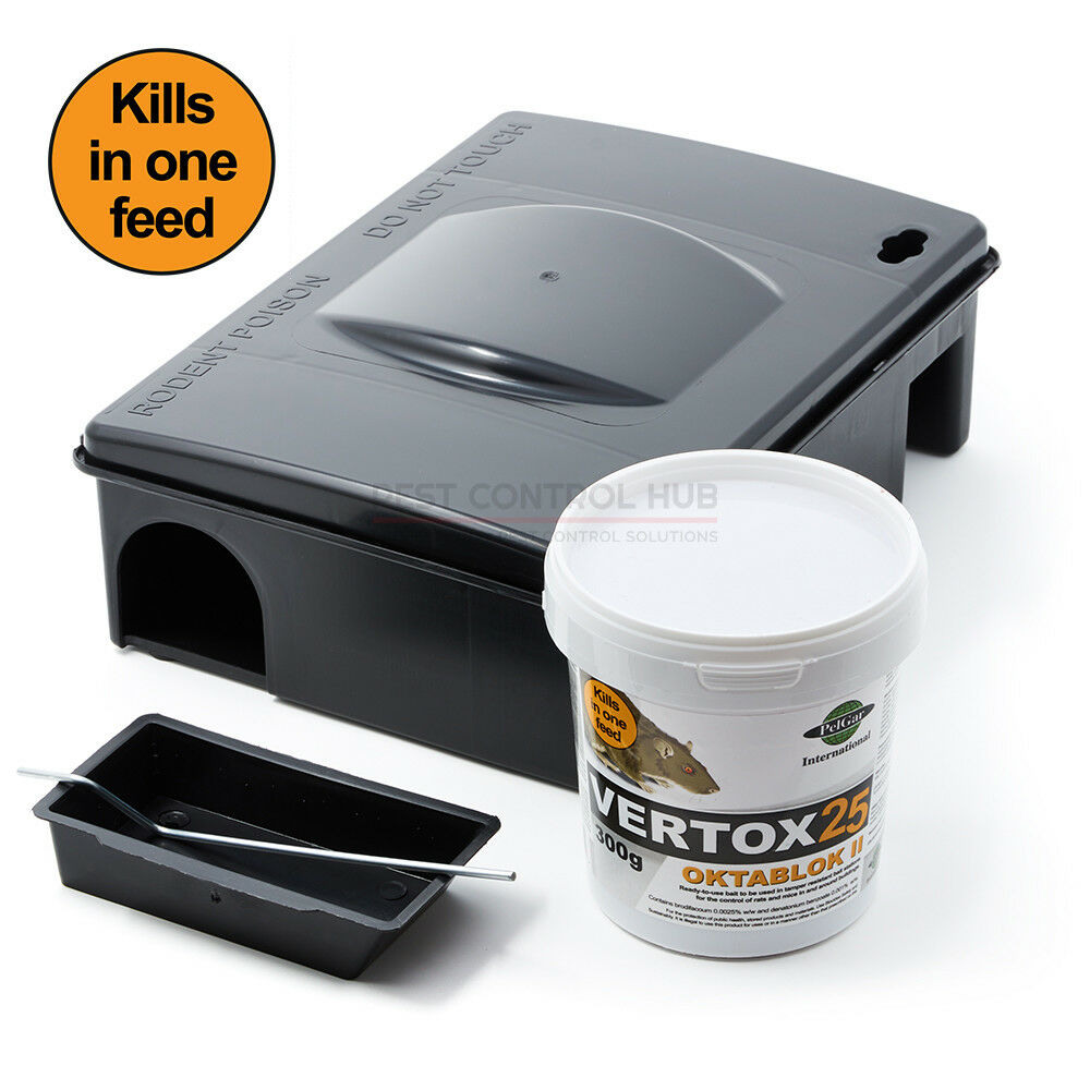 Mouse Bait Boxes Strongest Rat And Mouse Killer Poison Blocks With Bait Station Box Vertox 25 Ebay