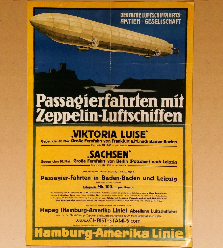 Berlin Leipzig Entfernung Zeppellin Airship Travel Poster Reproduction Ebay