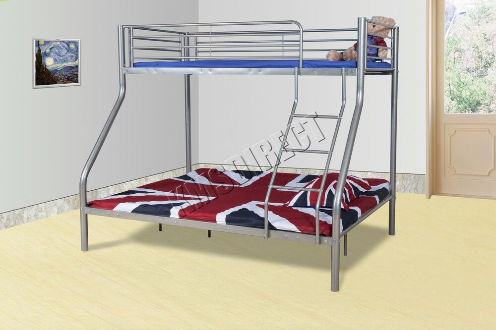 Foxhunternew Silver Metal Triple Children Sleeper Bunk Bed