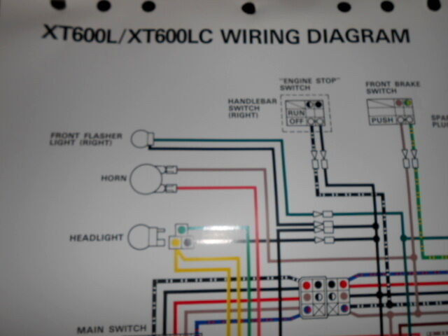 Yamaha OEM Factory Color Wiring Diagram Schematic 1983-1986 XT600L