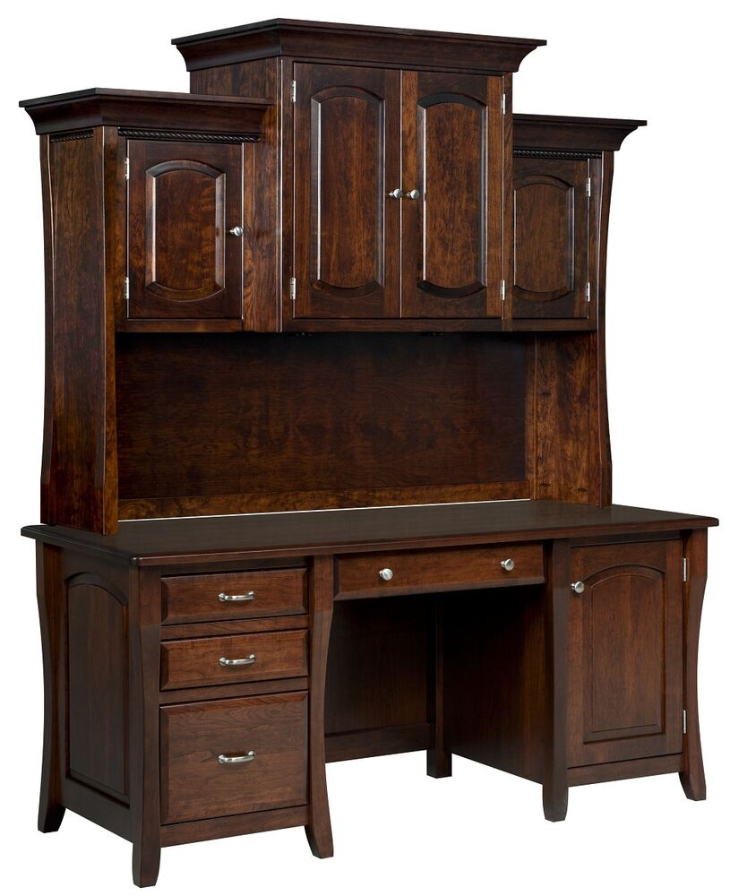 Amish Computer Desk Hutch Home Office Solid Wood Furniture