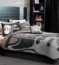 New Boys Black Gray Rock Guitar Comforter Bedding Set