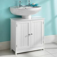 WHITE WOOD UNDER SINK CABINET BATHROOM STORAGE UNIT ...