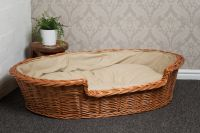 Extra Large Wicker Dog Bed Basket with Cushion No ...
