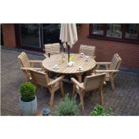 Wooden Garden Furniture Round Table & 6 High Back Chairs ...