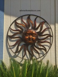 Large Round Metal Sun Wall Decor Rustic Garden Art Indoor ...